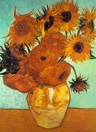 Vincent van Gogh art print 'Sunflowers on Blue' still life prints by King and McGaw