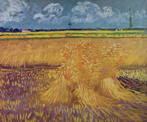 Vincent van Gogh art print 'Wheatfield with Sheaves, 1888' Landscape art prints by King and McGaw