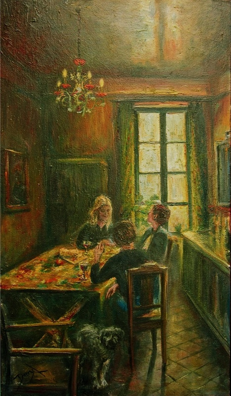 French Provencal kitchen painting : 'Amanda's Kitchen' Oils on canvas. An interior of 18th century kitchen. The walls are a dark red with green bench and food larder. It is a small room, enough for food preparation and aspace for a country style table with provencal style table cloth. Sitting around the table are three young women in conversation sharing wine and bread. There is a small dog watching the artist (myself as I made some quick sketches). There is a soft light through the window giving a golden glow to the painting. An ornate old chandelier hangs from the ceiling.