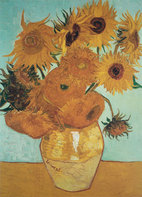 Vincent van Gogh art print 'Sunflowers on Blue, 1888' still life art print by King and McGaw