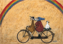Picture Landscape, walking, Love and Dog prints 'Somewhere Under a Rainbow' Gift art prints by Sam Toft