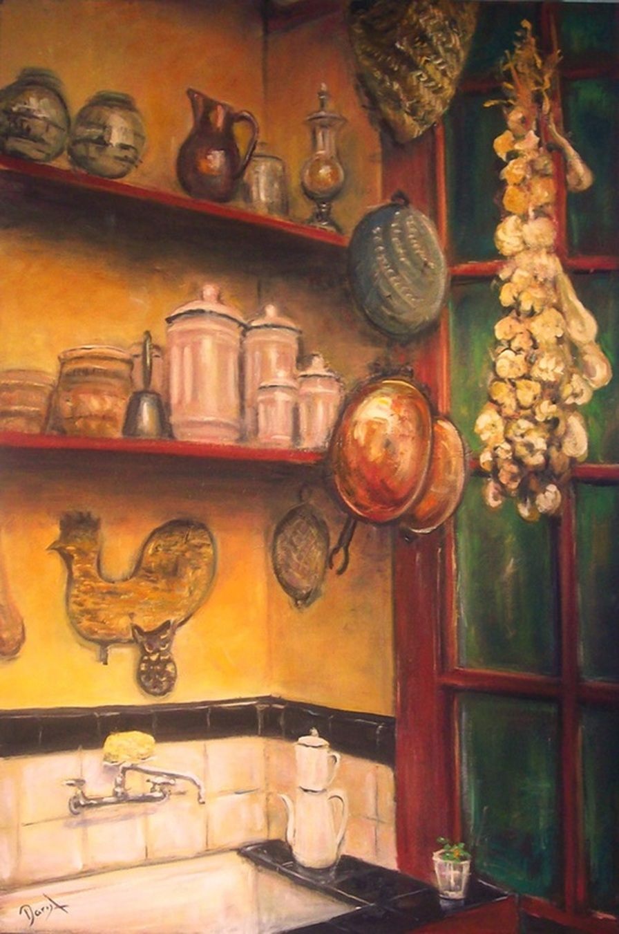 Creole Kitchen Painting Still Life Interior Old New