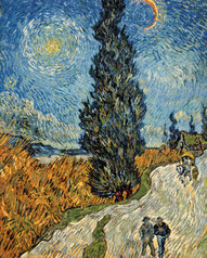 Vincent van Gogh art print 'Country Road in Provence by Night, c. 1890' Landscape art prints by King and McGaw