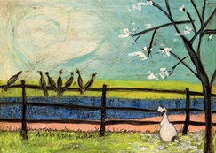 Picture, Landscape, walking, Love and Dog prints ' Doris and the Birdies' Gift art prints by Sam Toft