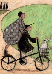 Landscape, walking, Love and Dog prints 'Double Decker Bike' Gift art prints by Sam Toft