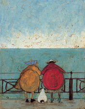 Landscape, walking, Love and Dog prints 'Doris Earwigging' Gift art prints by Sam Toft