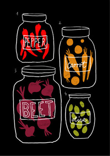 Decorative food, modern, contemporary 'Pickles' graphic art prints by Ana Zaja Petrak