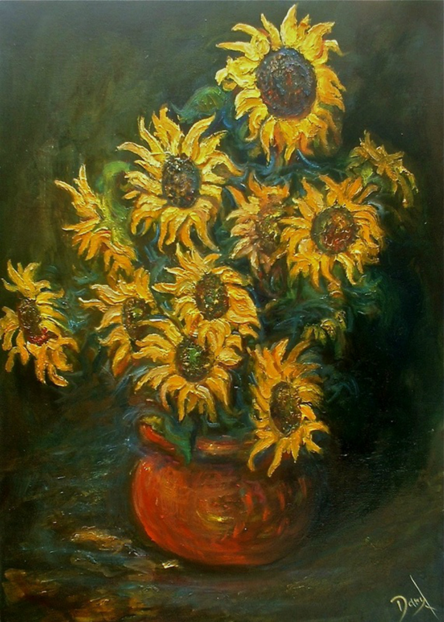 Sunflowers paintings. 'Sunflowers in a Pot'