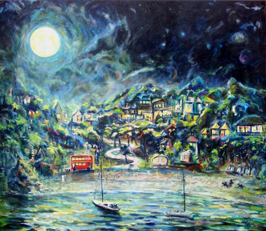 Oil paints on canvas, Waiheke Island NZ night scene. NZ art for sale Waiheke art 'Oneroa moon' scene of a bay at night with the village lit up on the shore. oil painting Waiheke Island