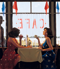 Art print by Jack Vettriano. 'Cafe Days' posters and prints.