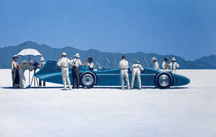 Art print by Jack Vettriano. 'Bluebird at Bonneville' posters and prints.