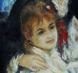 Impression Jeanne.  Auguste Renoir landscape art, Bal du moulin de la Galette. Study of sisters, Estelle and Jeanne. By NZ artist Daryl Lex price