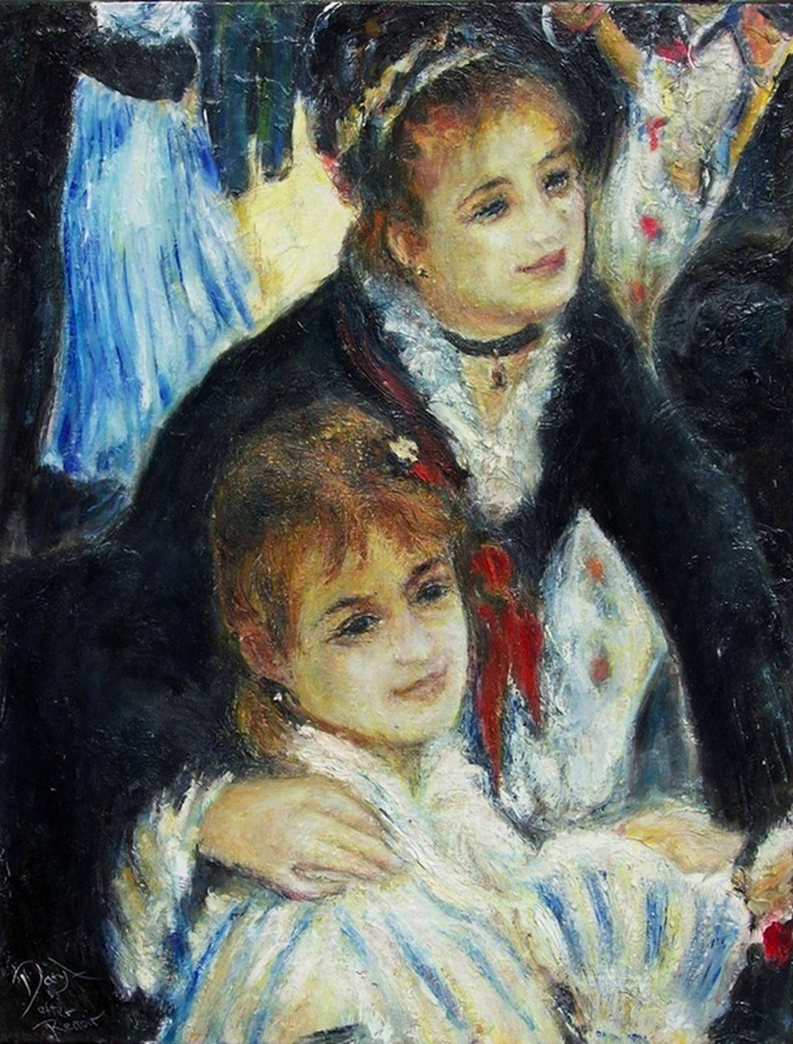 Auguste Renoir landscape art, Bal du moulin de la Galette. Study of sisters, Estelle and Jeanne. By NZ artist Daryl Lex price